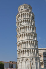 Unrecognized tourists visit Pisa tower