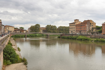 Arno River and waterfront buildings, Pisa