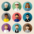 Set of round flat icons with men. vector illustration