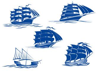 Medieval sailing ships icons