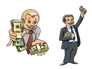 Successful businessman characters with money