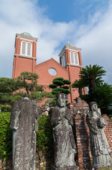 Bombed christian statues (被爆聖人石像) in Urakami Cathedral (浦上天主堂)