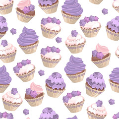 Seamless pattern with violet cupcakes