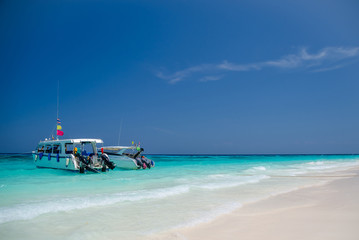 Speed boat on the beach