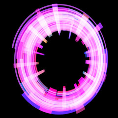 Abstract dark pink circle at an angle. Raster.