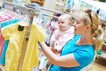 woman with child in shop