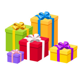 Colorful gift boxes with bows. Vector illustration.