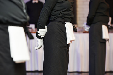 Waiter ready to service at party