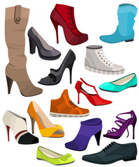Women's fashion collection of shoes.