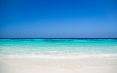 Colorful beach with blue sky