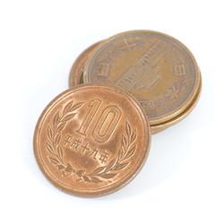 10 Japanese yen coin on white background