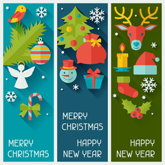 Merry Christmas and Happy New Year vertical banners.