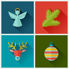 Set of Merry Christmas and Happy New Year icons.