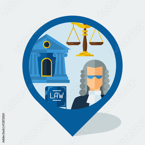 Navigation marker with law icons in flat design style. - 72872820