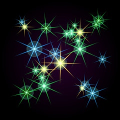 Bright stars of different colors on a black background. Raster