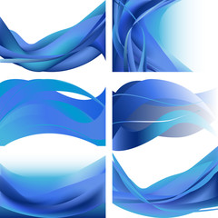 Set waves abstract background blue isolated