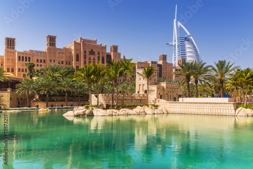 Tuinposter Eiland Amazing architecture of tropical resort in Dubai, UAE