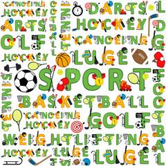 seamless sport pattern of words - vector illustration, eps
