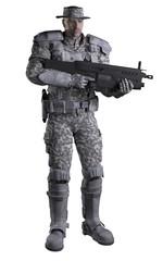 Futuristic Marine Ranger in Urban Camouflage, Standing