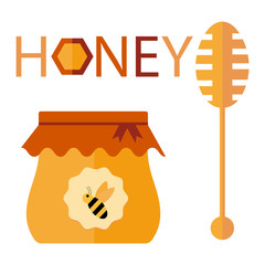 bee honey vector flat