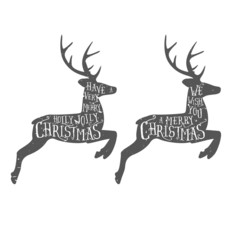 Vintage Christmas typographic greeting on a reindeer