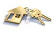 canvas print picture - 2 Goldene Schlüssel mit Haussymbol