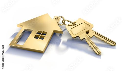 canvas print picture 2 Goldene Schlüssel mit Haussymbol