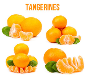 Set of four compositions of tangerines isolated