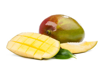 mango slices, peel and leaves isolated