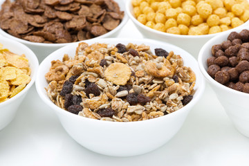 granola and various breakfast cereals