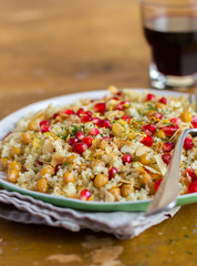 Couscous with roasted chickpeas. lemon zest