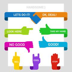 Hands symbols pointers design elements vector templates