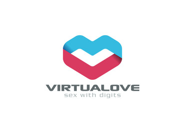 Virtual Love dating Ribbon shape Heart Logo design