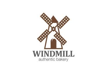 Windmill Logo Bakery design vector template