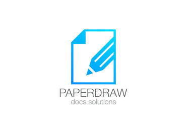 Pencil on Paper Draw Logo design vector template