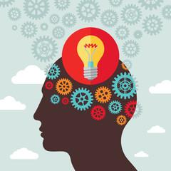 Human head idea - vector illustration in flat design style