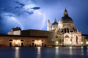 Venice at storm view on Basilica della Salute