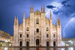 Milan cathedral dome at storm - Italy