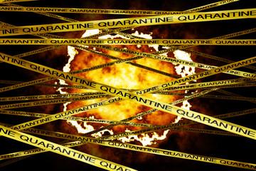 Danger behind Yellow Quarantine Ribbons 3D render