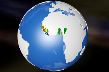 Ebola Virus Epidem - African Outbreak Countries on Earth 3D rend