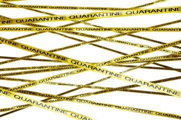 Yellow Quarantine Ribbons 3D render
