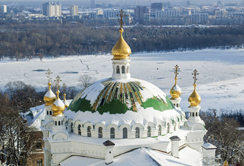 dome of the temple in the snow