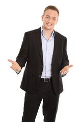 Portrait: junger Business Mann in Anzug und Hemd isoliert