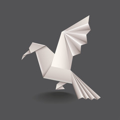 Origami bird isolated on dark vector