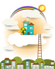 Abstract paper,fantasy home sweet home ,sun with rainbow