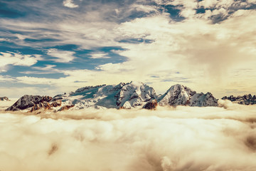 Marmolada summit in Dolomites in winter
