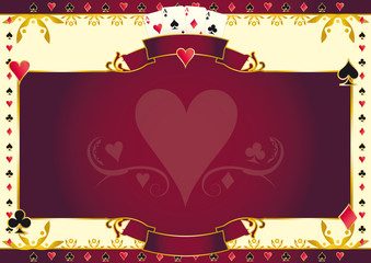 Poker game heart horizontal background
