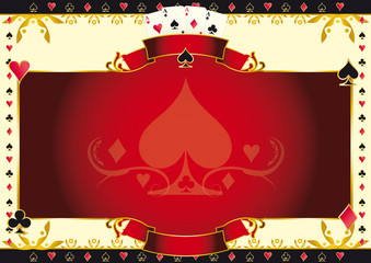 Poker game ace of spades horizontal background