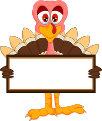 cute turkey cartoon with blank sign