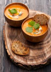 Pumpkin soup in rustic style